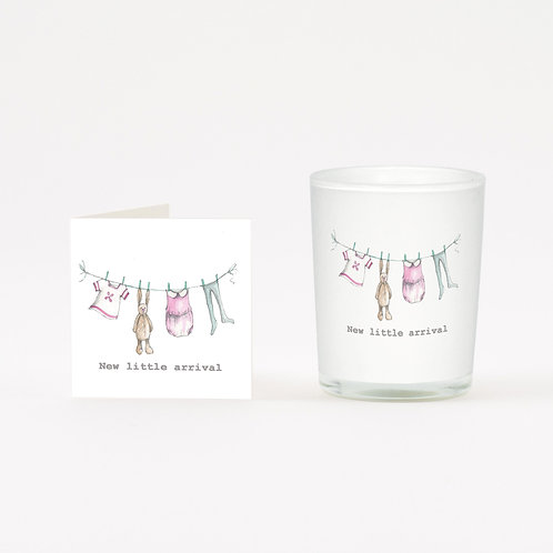 New Baby Girl Boxed Candle & Card