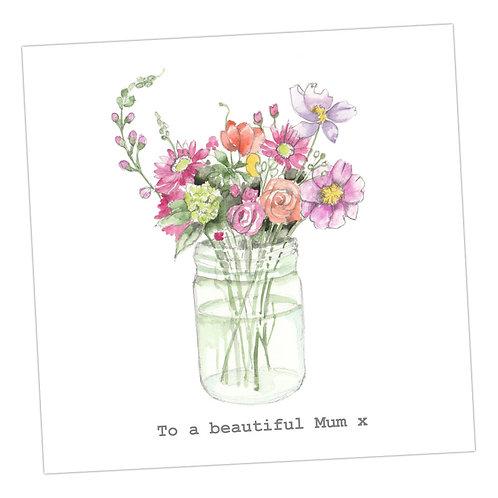 Beautiful Mum jar of flowers