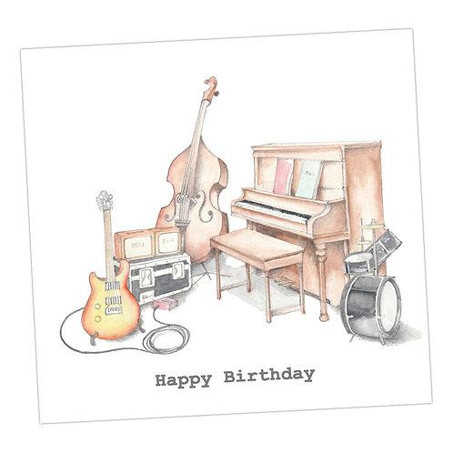 Musical Instruments Birthday Card