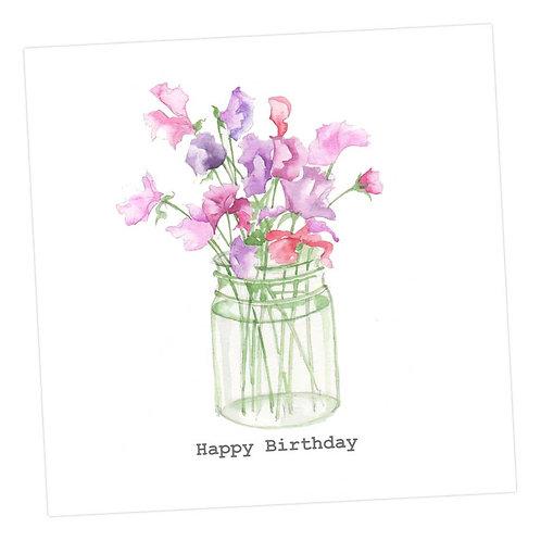 Sweet Peas, Birthday Card