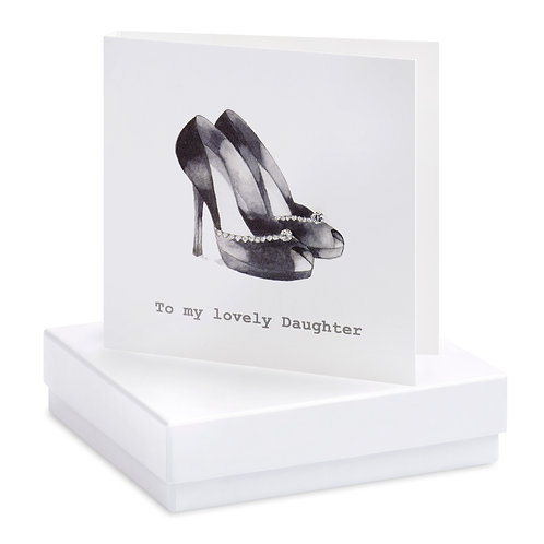 Boxed Special Daughter Party Shoes Earring Card