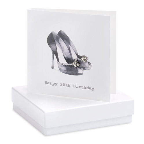 Boxed Earring Card Black shoes 30th