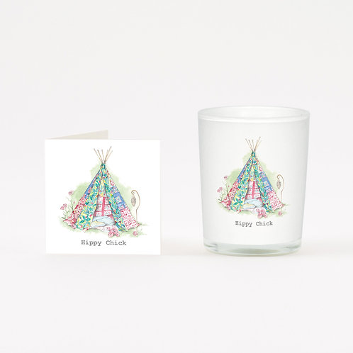 Teepee Boxed Candle & Card
