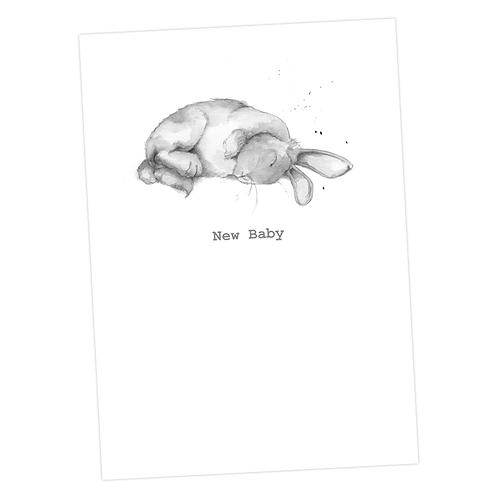 Sleeping Bertie Bunny, New Baby Card