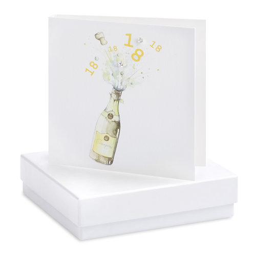 Boxed Champagne Bottle 18th Earring Card