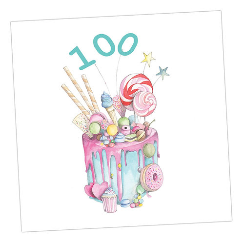 Truly Scrumptious Cake 100th Card
