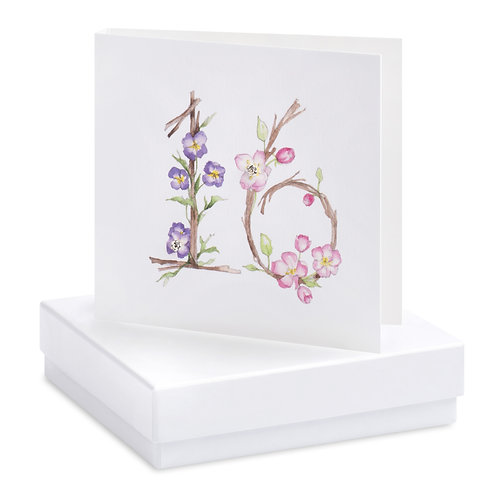 Boxed Floral 16th Earring Card