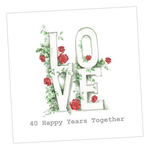 Love Letters 40th Anniversary Card