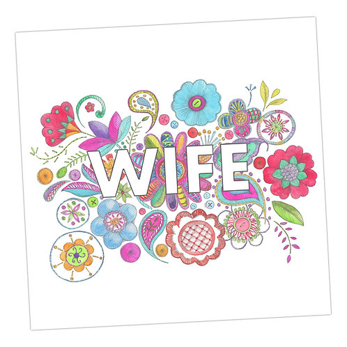 Embroidered Wife Card