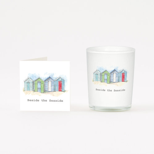 Beach Huts Boxed Candle & Card