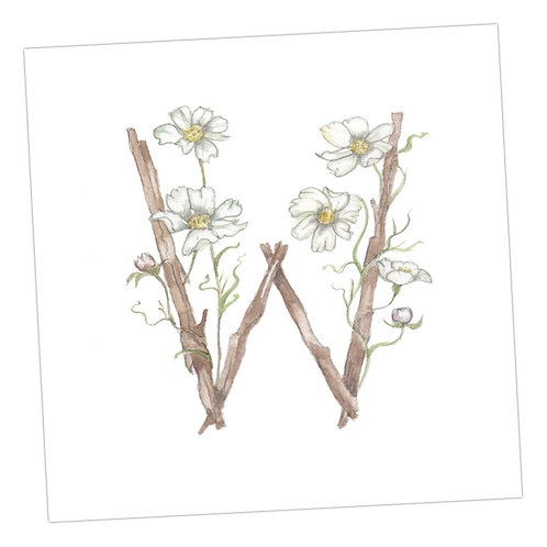 Floral Letters W