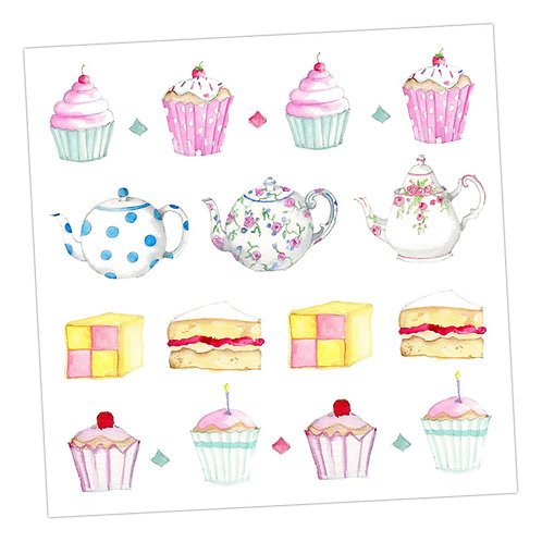 Teapots and Cake Card
