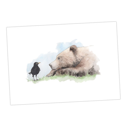 Bear & Blackbird Print
