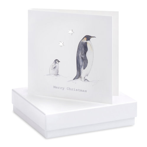 Boxed Earring Card Penguins Merry Christmas