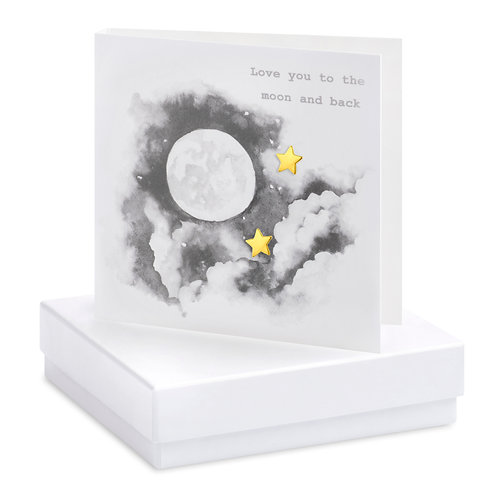 Boxed Earring Card Moon & Stars B&W Love you to the moon and back