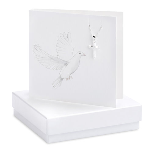 Boxed Dove & Cross Necklace Card