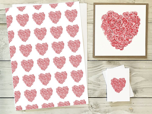 Rose Heart Gift Wrap & Tag Pack