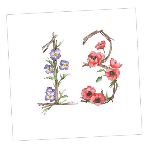 Floral 13th Card