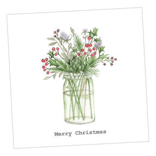 Flower Jar Christmas Card