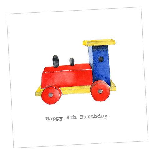 Train 4th Birthday Card