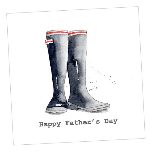 Black Wellies Father's Day Card
