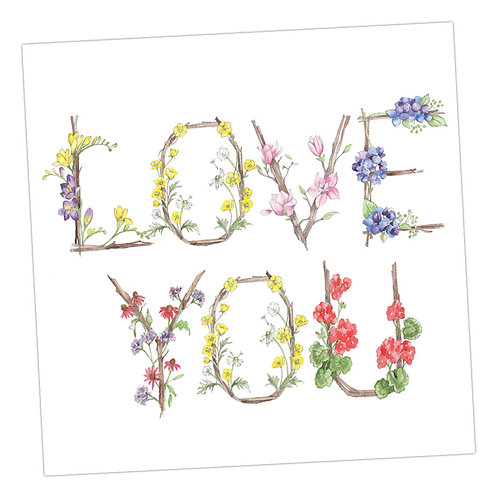 Floral Letters Love You