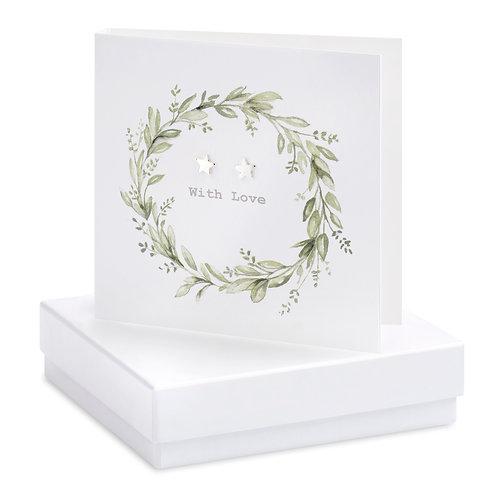 Boxed Eucalyptus Wreath Earring Card