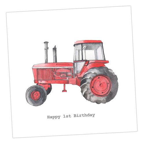 Tractor 1st Birthday Card