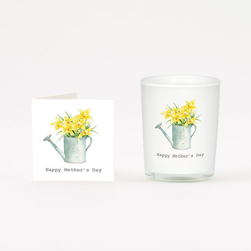 Daffodil Mother's Day Wreath Boxed Candle & Card