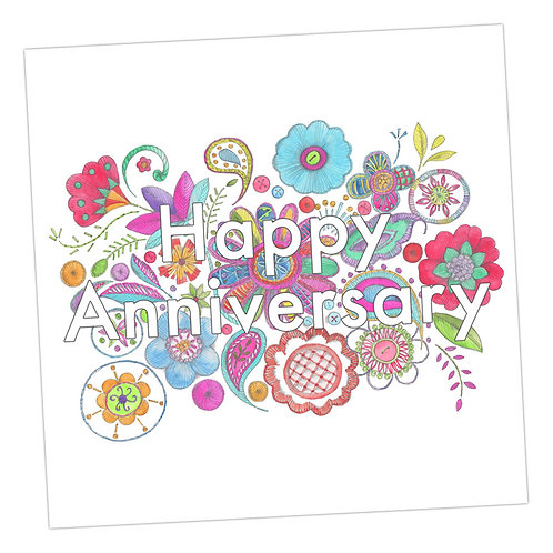 Embroidered Happy Annniversary Card