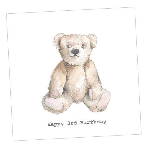 Teddy 3rd Birthday Card