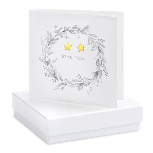 Boxed Earring Card Wreath B&W