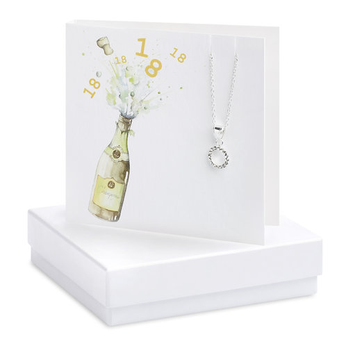Boxed Champagne 18th Cubic Zirconia Necklace Card