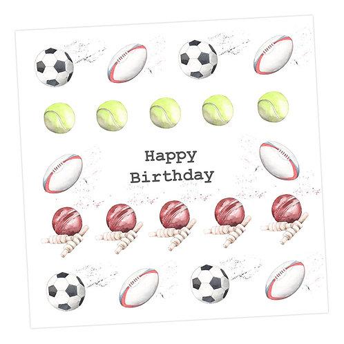 Multi Sport Happy Birthday Card