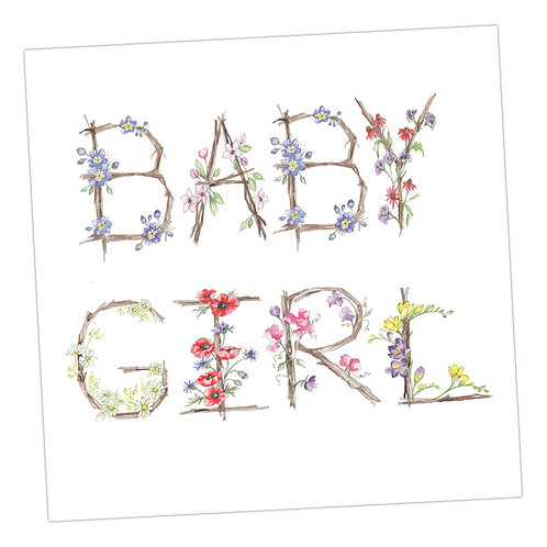Floral Letters Baby Girl