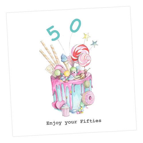 Truly Scrumptious Cake 50th Card