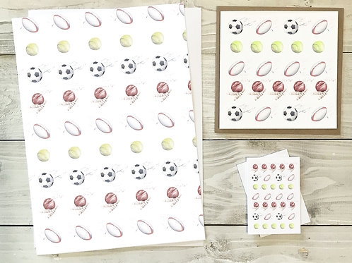 Sporty Gift Wrap & Tag Pack