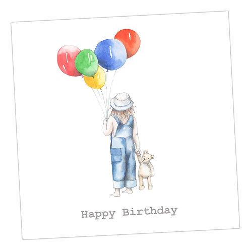 Jolly Balloon Girl Birthday Card