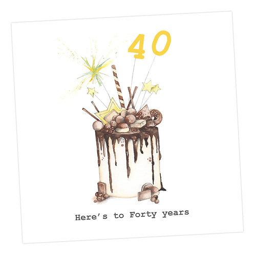 Choccie Woccie Cake 40th Card