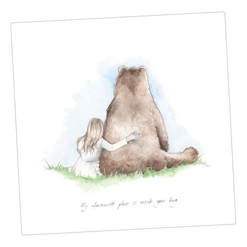 Bear & Little Girl Card