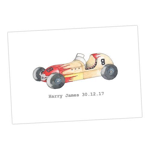 Racing Car Personalised Print