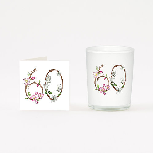Floral 60 Boxed Candle & Card