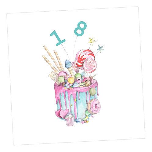 Truly Scrumptious Cake 18th Card