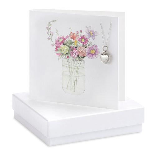 Boxed Flower Jar Locket Necklace Card