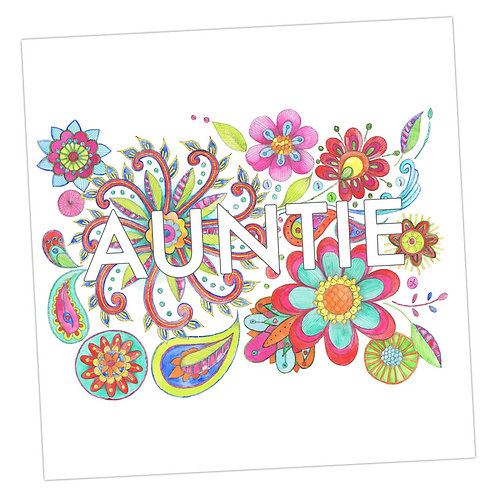 Embroidered Auntie Card