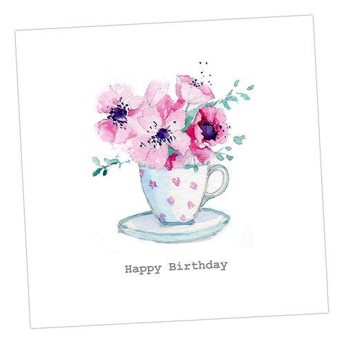 Spotty Teacup Birthday Card