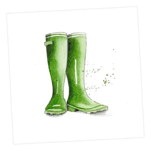 Green Wellies Card