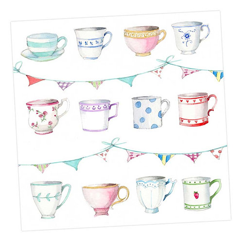 Teacups and Bunting Card