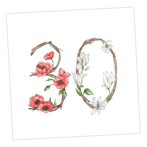 Floral Numbers 30th Card