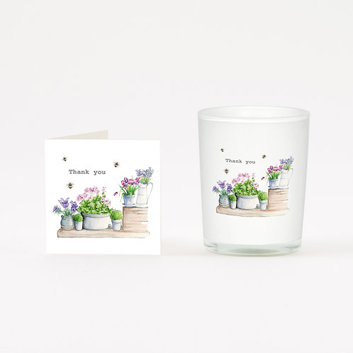Flower Pots Thank You Boxed Candle & Card